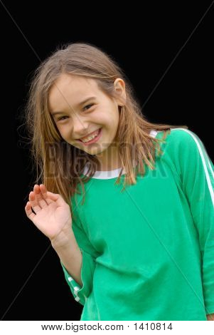 Cute, Smiling Little Girl Waving