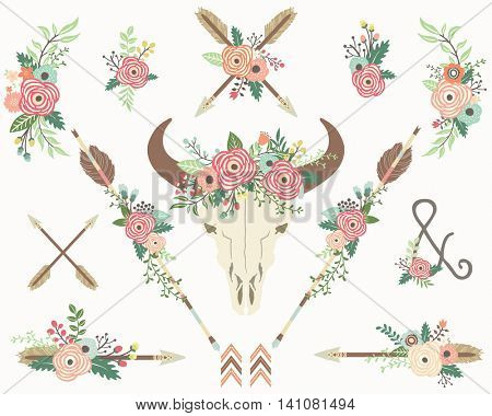 Tribal Floral Bison Skull