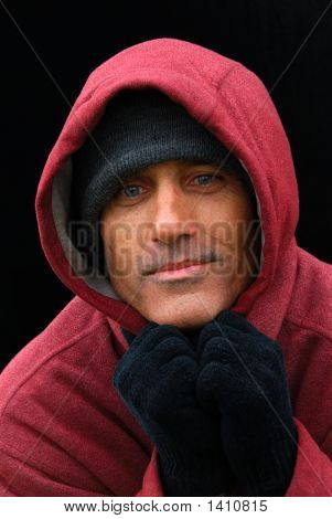 Homeless Man In The Red Hooded Sweatshirt - A Portrait Of Hope
