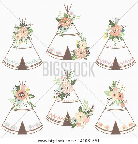 Floral Teepee Collection - Perfect for Tribal, Floral, Weeding, Valentine's, Mother's day and many more.