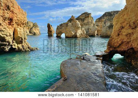 Algarve coast landscape near Lagos, south Portugal