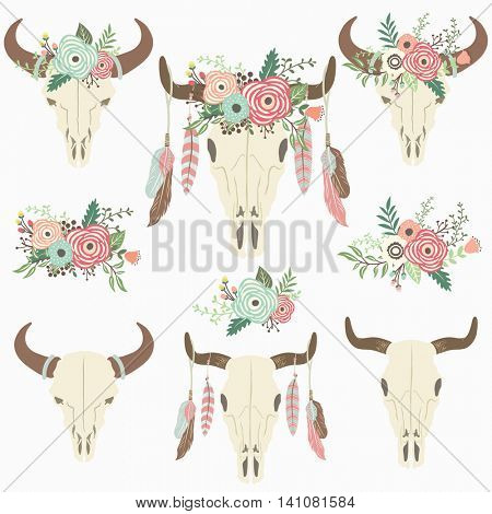 Floral Tribal Bison Skull - Perfect for Weeding, Tribal, Floral, Valentine's, Mother's day and many more.