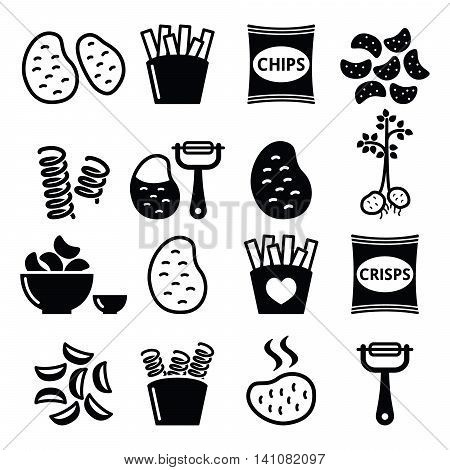 Potato, French fries, crisps, chips vector icons set