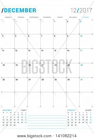 December 2017. Vector Print Template. Monthly Calendar Planner For 2017 Year. Week Starts Monday. 3