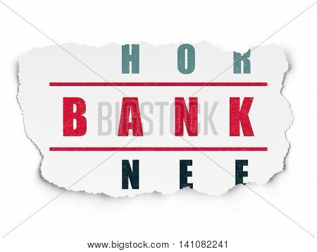 Currency concept: Painted red word Bank in solving Crossword Puzzle on Torn Paper background