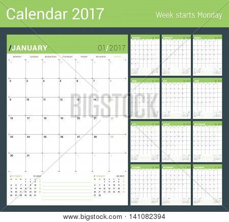 Vector Print Template. Monthly Calendar Planner For 2017 Year. Week Starts Monday. 3 Months On The P