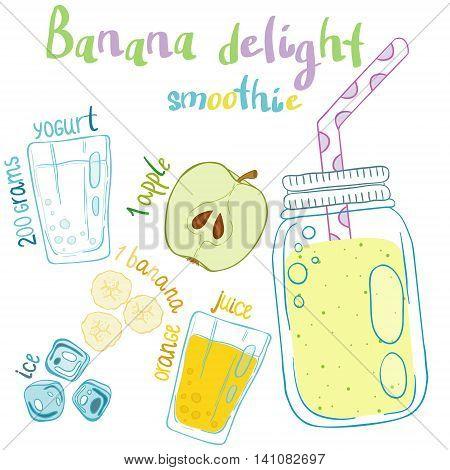 Recipe illustration smoothie (cocktail) with apples yogurt ice orange juicebananas. Vector hand drawn illustration for books magazines cafe restaurant menu cards flyers. Scandinavian style