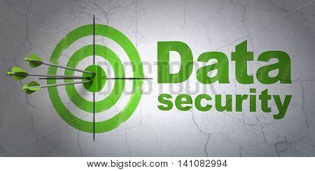 Success safety concept: arrows hitting the center of target, Green Data Security on wall background, 3D rendering