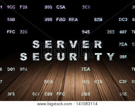 Protection concept: Glowing text Server Security in grunge dark room with Wooden Floor, black background with Hexadecimal Code