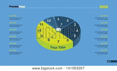Pie graph with clock. Element of presentation, circle diagram, pie chart. Concept for business templates, infographics, reports. Can be used for topics like statistics, time, finance, marketing