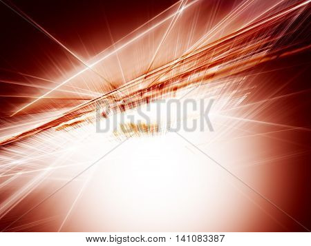Abstract background element. Fractal graphics series. Three-dimensional composition of intersecting grids. Information technology concept. Red colors.