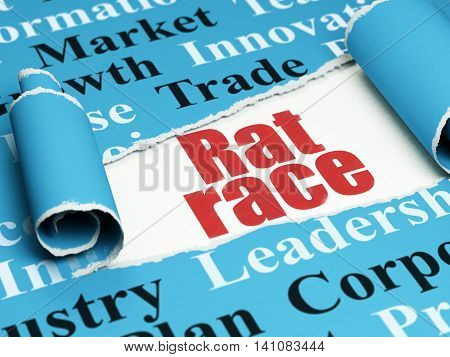 Business concept: red text Rat Race under the curled piece of Blue torn paper with  Tag Cloud, 3D rendering