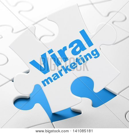 Advertising concept: Viral Marketing on White puzzle pieces background, 3D rendering