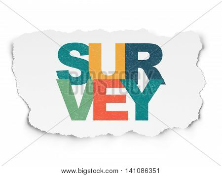 Science concept: Painted multicolor text Survey on Torn Paper background