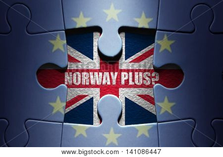 Brexit concept, jigsaw puzzle on possible outcomes