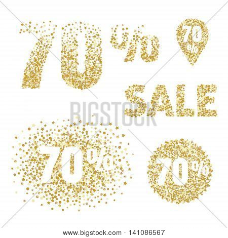Gold sale design elements and icons. 70 percent discount tags for flayers selling posters shopping banners coupons.