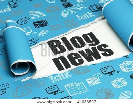 News concept: black text Blog News under the curled piece of Blue torn paper with  Hand Drawn News Icons, 3D rendering