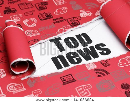 News concept: black text Top News under the curled piece of Red torn paper with  Hand Drawn News Icons, 3D rendering