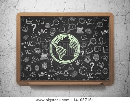 Studying concept: Chalk Green Globe icon on School board background with  Hand Drawn Education Icons, 3D Rendering