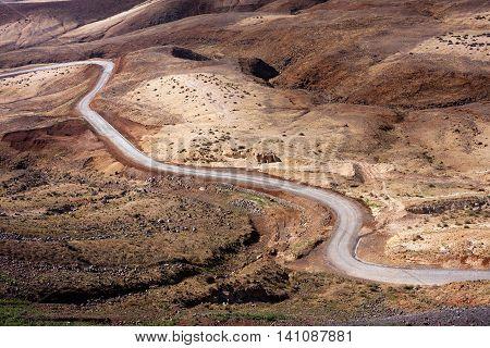 Desert road, landscape of Santo Antao island. Cape Verde Africa