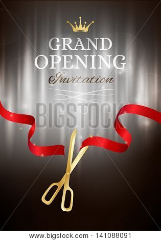 Grand opening invitation card with cut red ribbon and gold scissors. Dark vector background with light effect