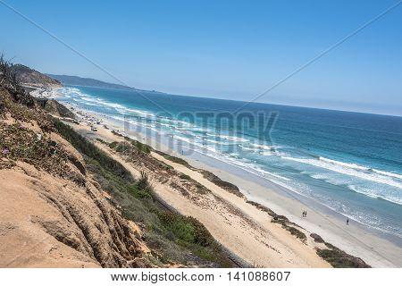 Sand beaches along the Del Mar coast, California