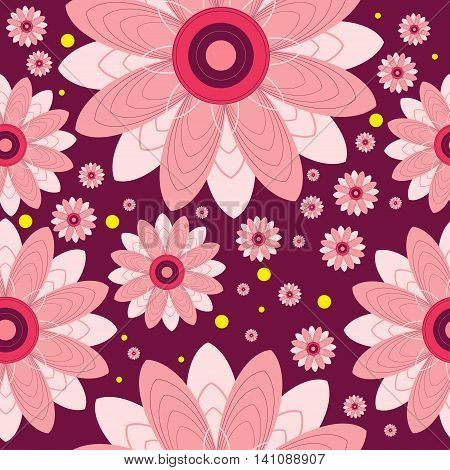 Seamless pattern of flowers and circles. Vector flowers on burgundy background