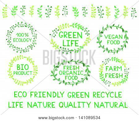 Set of watercolor green logos. Leaves, frames, badges, lettering, branches wreath, plant, laurels. Sign label,textured emblem. Ecology, vegan food, bio product, organic,farm template.