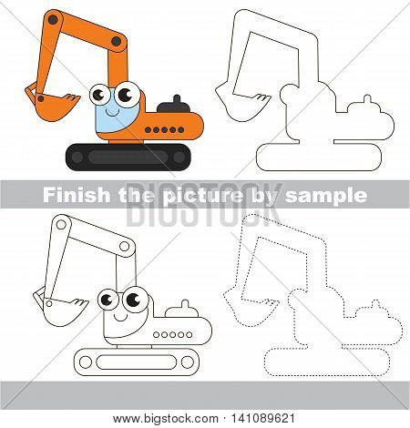 Drawing worksheet for children. Easy educational kid game. Simple level of difficulty. Finish the picture and draw the cute Excavator