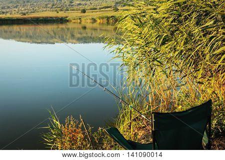 Lake holiday fishing rod and chair summer travel hobby