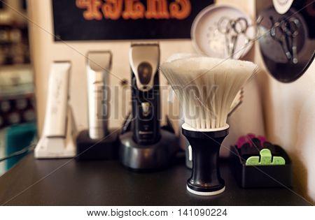 Brush Shaving Set In Barber Shop