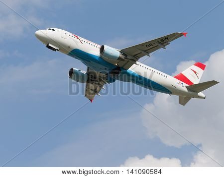 Moscow region - 31 July 2016: passenger plane Airbus A-320-214 Austrian Airlines flies to Moscow's Domodedovo airport July 31 2016 Moscow Region Russia