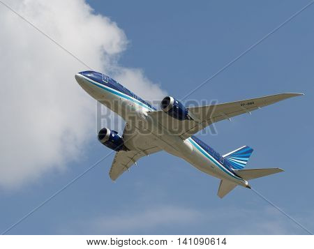 Moscow region - 31 July 2016: passenger airplane Boeing 757-8 AZAL Azerbaijan Airlines flies to Moscow's Domodedovo airport July 31 2016 Moscow Region Russia