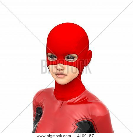one girl teenager wearing a red super black latex suit. 3D rendering, 3D illustration