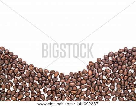 Isolated coffee beans arrange at the bottom in curve line shape for background and texture