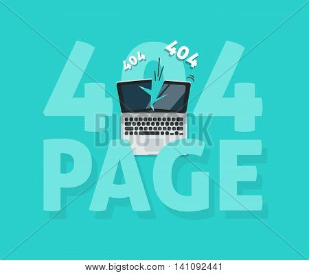 Abstract 404 error page vector illustration on blue background, page not found template design
