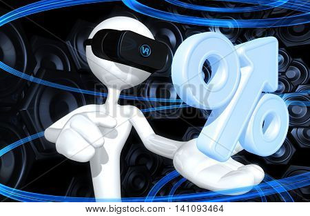 Virtual Reality VR Upward Percentage 3D Illustration