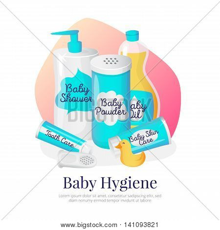 Vector baby hygiene goods illustration. Newborn accessories in cartoon style. Shampoo, powder, oil, cream and toothpaste.