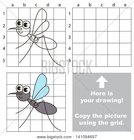 Copy the picture using grid lines. Easy educational game for kids. Simple kid drawing game with Gnat.