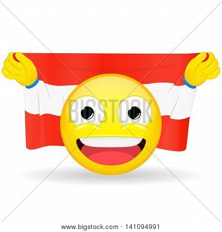 Emoji fan holds in hands flag behind his head. Austrian flag. Fan cares for his country. Glory spectator bawl emotion. Exult emoticon. Buff of sports games smile vector illustration.