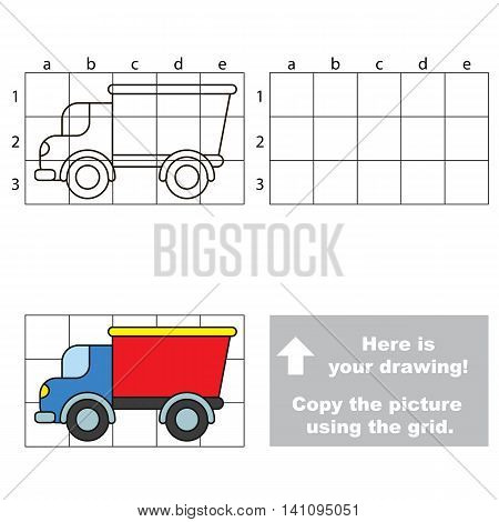 Copy the picture using grid lines. Easy educational game for kids. Simple kid drawing game with Lorry