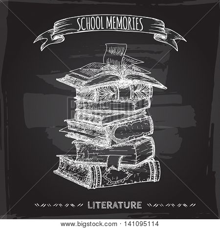 Book stack hand drawn sketch placed on blackboard background. School memories collection. Great for school, education, book shop, retro design.