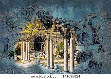 ruins of ancient city in Side, Turkey. Vintage painting, background illustration, beautiful picture, travel texture