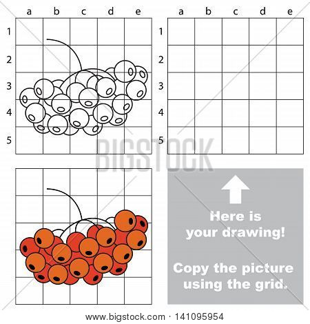 Copy the picture using grid lines. Easy educational game for kids. Simple kid drawing game with Rowan