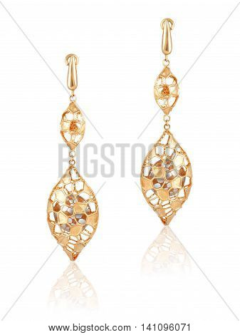 gold earrings. Gold jewelry. Women's gold earrings. Stylish trendy earrings
