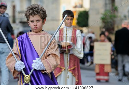 MOSTA, MALTA - APR 22 - Biblical enactment of the passion during in the Good Friday procession in the village of Mosta in Malta April 22, 2011