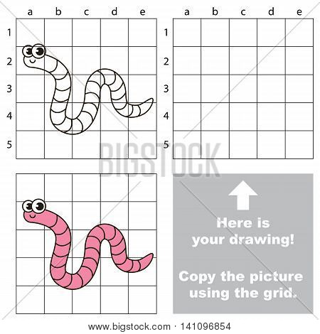 Copy the picture using grid lines. Easy educational game for kids. Simple kid drawing game with Worm.