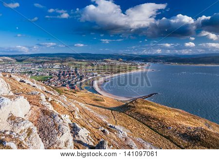 View From Great Orme over Coastal Town in Wales - Llandudno