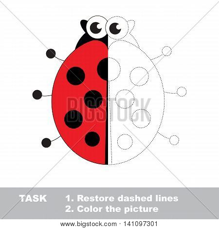 Ladybug in vector to be traced. Restore dashed line and color the picture. Visual game for children. Easy educational kid gaming. Simple level of difficulty. Worksheet for kids education.