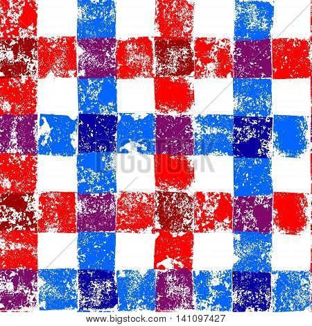 Blue and red checkered grunge gingham seamless pattern, vector background